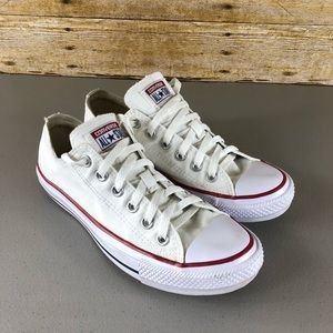 Converse White Tie Up Sneakers Sz 8